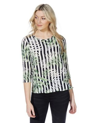 Only Striped Leaf Print 3/4 Length Sleeve Top Multi XL