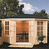 3m x 3m (11ft x 11ft) Corner Chalet Log Cabin Garden Cabin
