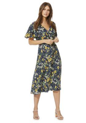 F&F Floral Print Midi Wrap Dress Navy Multi 18