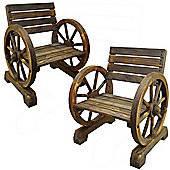 Cartwheel - Solid Wood Pair Of Garden Seats / Chairs - Burntwood