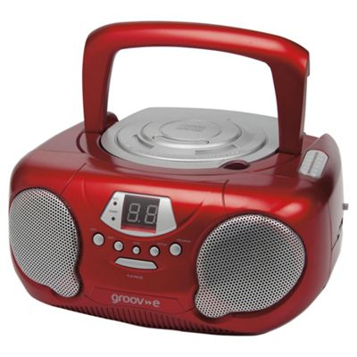 Groov-E Boombox Portable CD Player with AM/FM Radio - Red