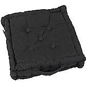 Homescapes Cotton Black Floor Cushion, 40 x 40 cm