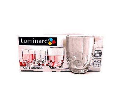 Luminarc Cote Oblique Glass Tumblers, 16cl, Set of 4