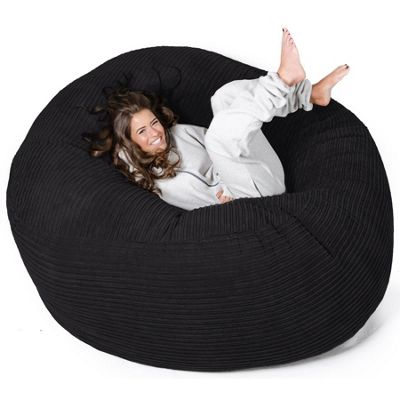Lounge Pug® Mega Mammoth Bean Bag Sofa - Cord Black