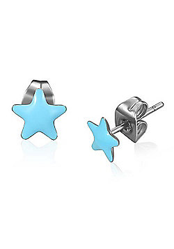 Urban Male Blue Resin & Stainless Steel Men's Star Stud Earrings 7mm
