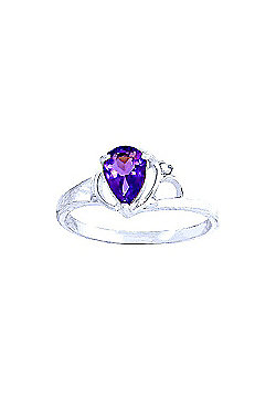 QP Jewellers Diamond & Amethyst Glow Ring in 14K White Gold