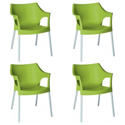 Resol Pole Designer Plastic Home Garden Dining Armchair - Lime Green - Pack of 4