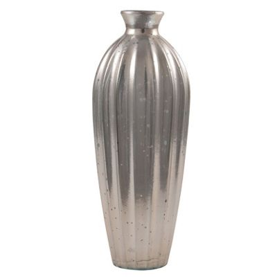 Antique Silver Recycled Glass Grooved Vase Large