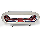 Hoop Coffee Table / Tv Stand Large - White - Union Jack