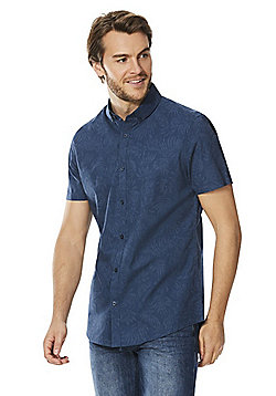 F&F Palm Print Short Sleeve Shirt - Navy
