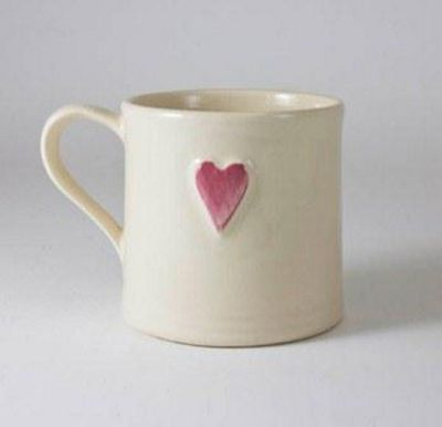 Deliverance Country Pottery Single 250ml Shaker Style Mug, Pink Heart