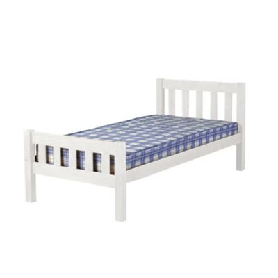 Comfy Living 3ft Single Farmhouse Style Wooden Bed Frame in White