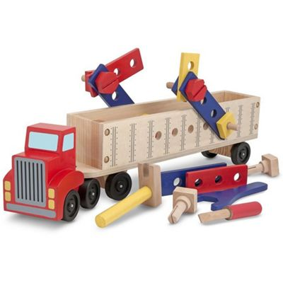 Melissa and Doug Big Rig Building Truck Wooden Play Set