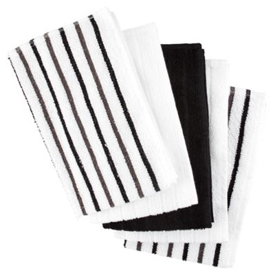 Black Stripe 5 Piece Tea Towels