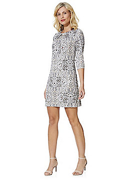 F&F Metallic Flecked Paisley Print Tunic Dress - Multi
