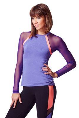 Raglan Mesh Long Sleeve Fitted Gym Top Purple-Coral L