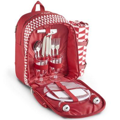 VonShef 2 Person Picnic Backpack Bag Set - Red