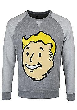 Fallout 4 Vault Boy Big Head Grey Men's Sweater - Silver