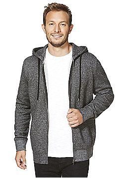 F&F Textured Zip-Through Hoodie - Charcoal
