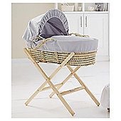 Clair De Lune Grey Waffle Palm Basket & Natural Stand