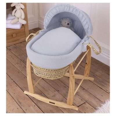 Clair de Lune Grey Waffle Moses Basket with Rocking Stand
