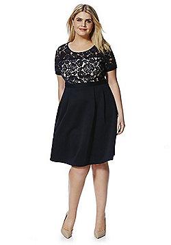 Lovedrobe Lace Top Plus Size Skater Dress - Navy