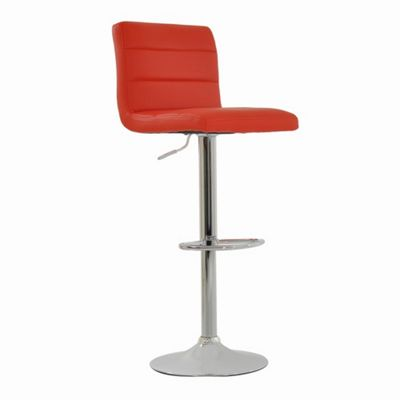 Adriatic Red Faux Leather Bar Stool