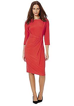 Roman Originals Draped Front Jersey Dress - Red
