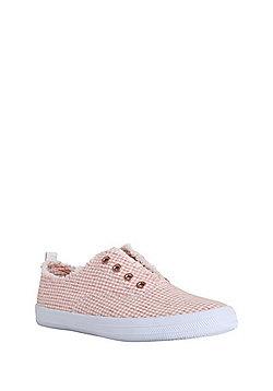 F&F Gingham Laceless Plimsolls - Pink