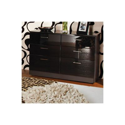 Welcome Furniture Mayfair 6 Drawer Midi Chest - White - Ebony - Ebony