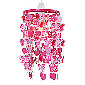 Hearts and Butterflies Ceiling Pendant Light Shade, Pink