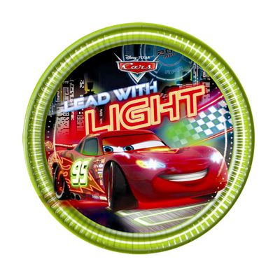 Disney Cars Neon Plates - 20cm Paper Party Plates - 8 Pack