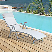 Outsunny Patio Sun Lounger Textilene Foldable Reclining Chair w/ Pillow (Cream)