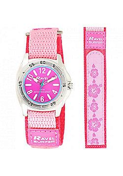 Pink Velcro Flower Strap 50m Water Resistant Watch