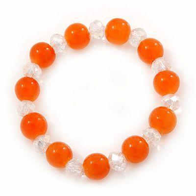 Orange/ Transparent Round Glass Bead Stretch Bracelet - up to 18cm Length