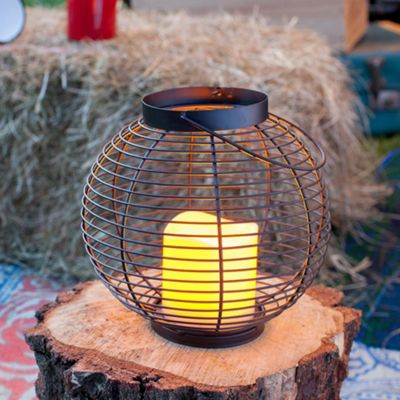 Metal Wire Battery LED Candle Lantern with Timer