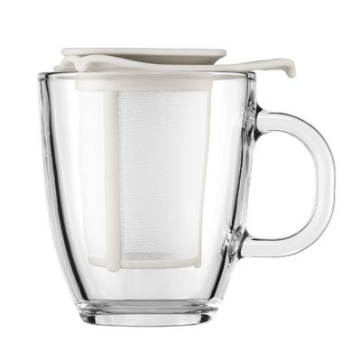 Bodum Yo-Yo Set, Glass Mug with Tea Infuser, Off White