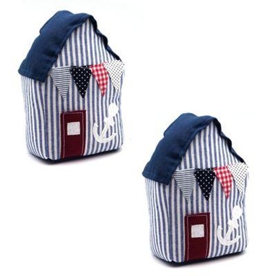 Home Interior Doorstop - Blue Beach Hut Shaped Door Stop - Pack of 2