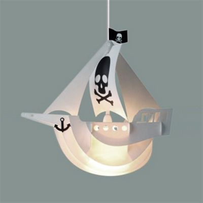 Childrens 3D Pirate Ship Design Ceiling Light Shade, Black & White