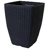Strata Black Plastic Rattan Pot, 32cm