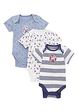 Disney 3 Pack of Mickey Mouse Short Sleeve Bodysuits - Blue & White