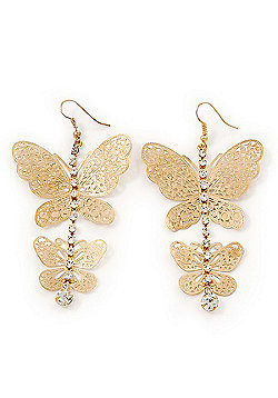 Long Lightweight Filigree Diamante 'Butterfly' Earrings In Gold Plated Metal - 8cm Length