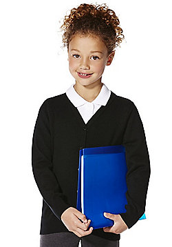 F&F School Girls Ribbed Cardigan with As New Technology - Black