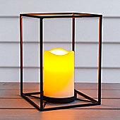 Black Geometric Battery LED Candle Lantern