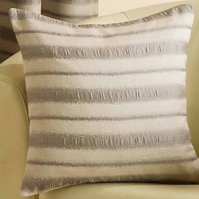 Homescapes Striped Silver and Beige Cushion Cover