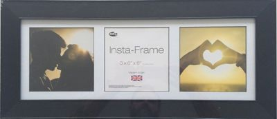 Inov8 Black Instagram Photo Frame for 3 Instagram Photos with White Mount and Black Inset