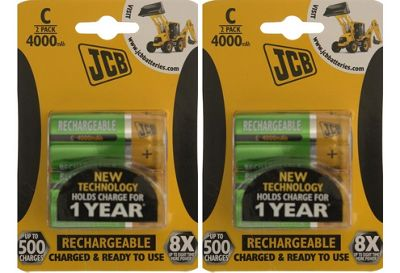 4 x JCB Pre-Charged C Batteries 4000MAH Rechargeable High Capacity Ready To Use