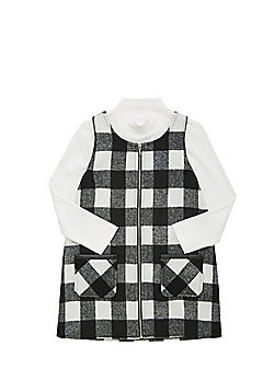 F&F Checked Pinafore and Jumper Set - Black & White