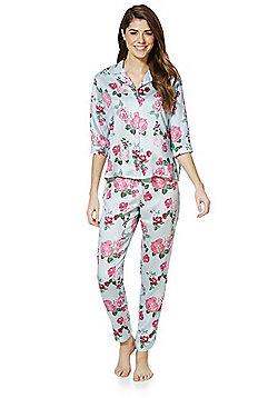 F&F Floral Print Modal Pyjamas - Pink & Blue