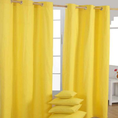 Homescapes Cotton Plain Yellow Ready Made Eyelet Curtain Pair, 117 x 137 cm